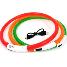 Waterproof Rechargeable Flash LED Flashing Band Night Safety Pet Dog Collar Wholesale(China)