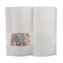 "New 14x20cm (5.5x7.75"") 100PCS Thick 14 Wire Tear Notch Resealable Stand Up Pouches White Zip Lock Kraft Paper Storage Bag(China)"