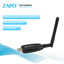 ZAPO Powerful 5.8G WIFI Add Bluetooth 4.1 Wireless AC USB 3.0 Lan 1200Mbps Adapter 2dbi Antenna Network Card For Desktop Laptop(China)