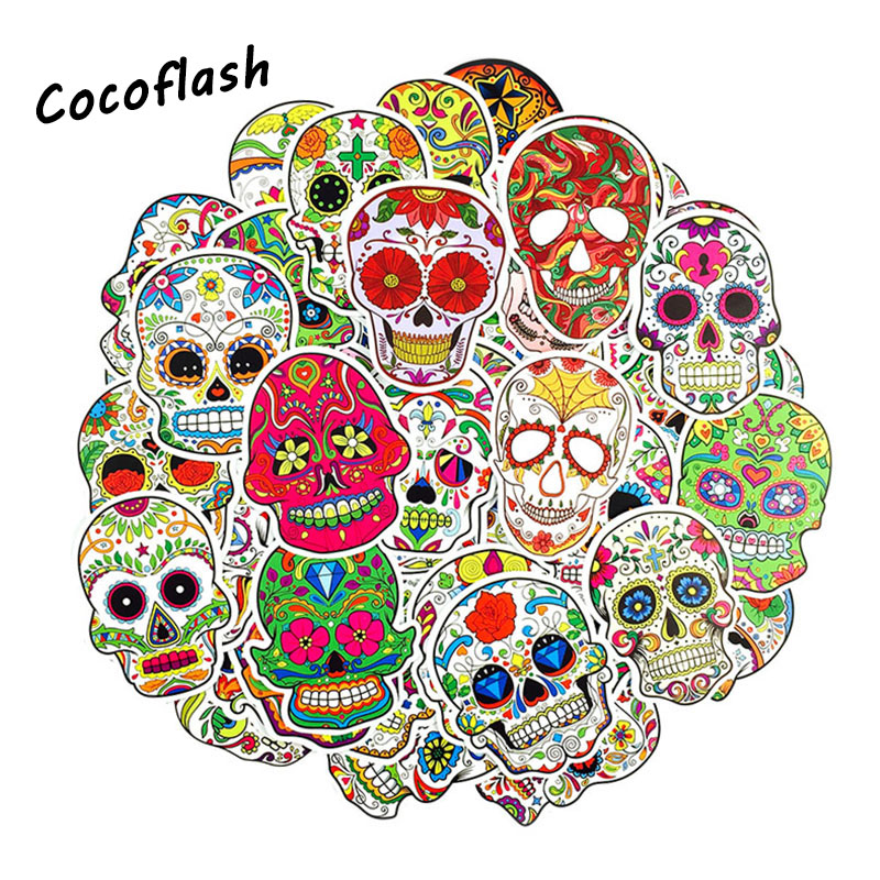 50 Pcs Colorful Horror skull Stickers for Laptop Luggage Skateboard Bicycle Car Styling Doodle Decals PVC Cool Funny Sticker