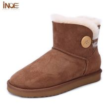 INOE Fur Lined Boots Women Size 9 Sheepskin Leather Sweet Women's Flat Shoes Short-Sleeved Boot Ankle Boots Shoes Woman Chestnut
