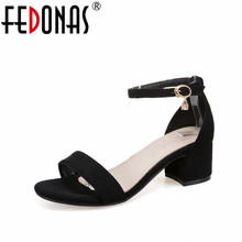 FEDONAS Women Thick High Heeled Sandals Black Blue Red Summer New Shoes Female Ankle Strap Wedding Night Club Sandals