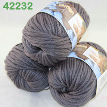 LOT of 3 Balls X 50g Special Thick Worsted Cotton Knitting Yarn Charcoal 2232(China)