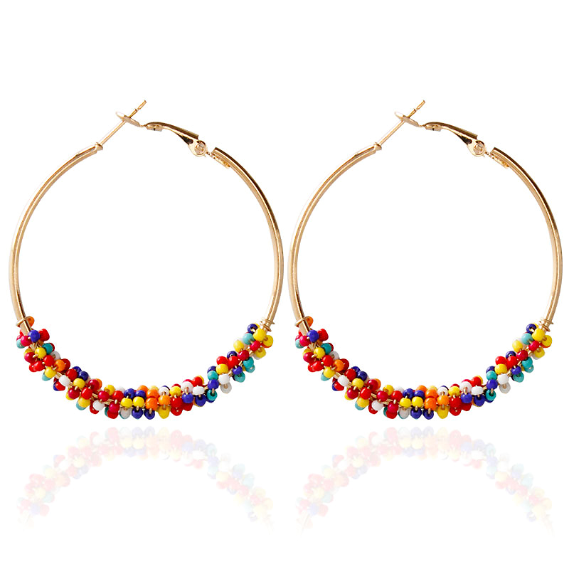 YUKAM Boho Big Exaggerated Round Loop Earrings Circle Creole Hoop Earrings Gold Seed Beads Earrings for Women Handmade Jewelry