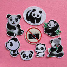 fashion style panda patterned patches stripes hot melt adhesive applique delicacy embroidery DIY clothing accessory C5166-C5225