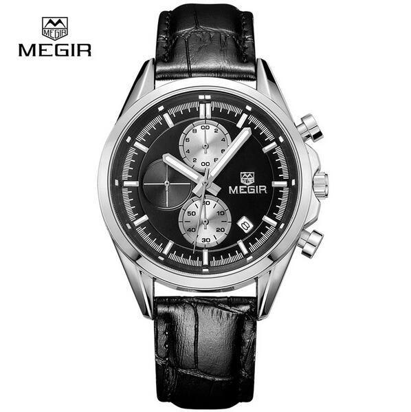 Megir new fashion military leather quartz watches mens luxury bright analog chronograph watch man watch - bracelet free shippin<br><br>Aliexpress