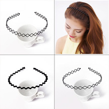2pc Fashion Mens Women Unisex Black Wavy Hair Accessories Hair Hoop Sport Barrette Headband Hairband Hair Styling accessories