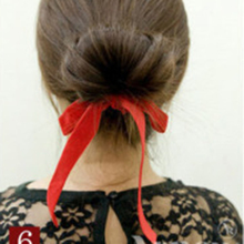 Korea Style Women Meatball Head Bowknot Hair Band Sponge Cloth Fabric Hair Ropes Headdress Flower