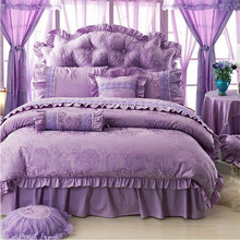 Free Shipping pink purple beige red Korean princess ruffle lace wedding bedding set 4pcs without filling full/queen/king size