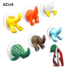 XZJJA 1pc Cartoon Animal Tail Rubber Sucker Hook Key Towel Hanger Holder Hooks Clothing Key Hanger Wall Kitchen Accessories