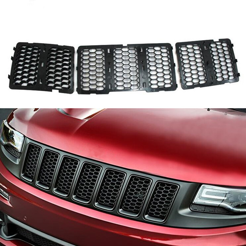 For 2014-2018 Jeep Cherokee Red Front Grille Inserts Mesh Trim Frame Accessories