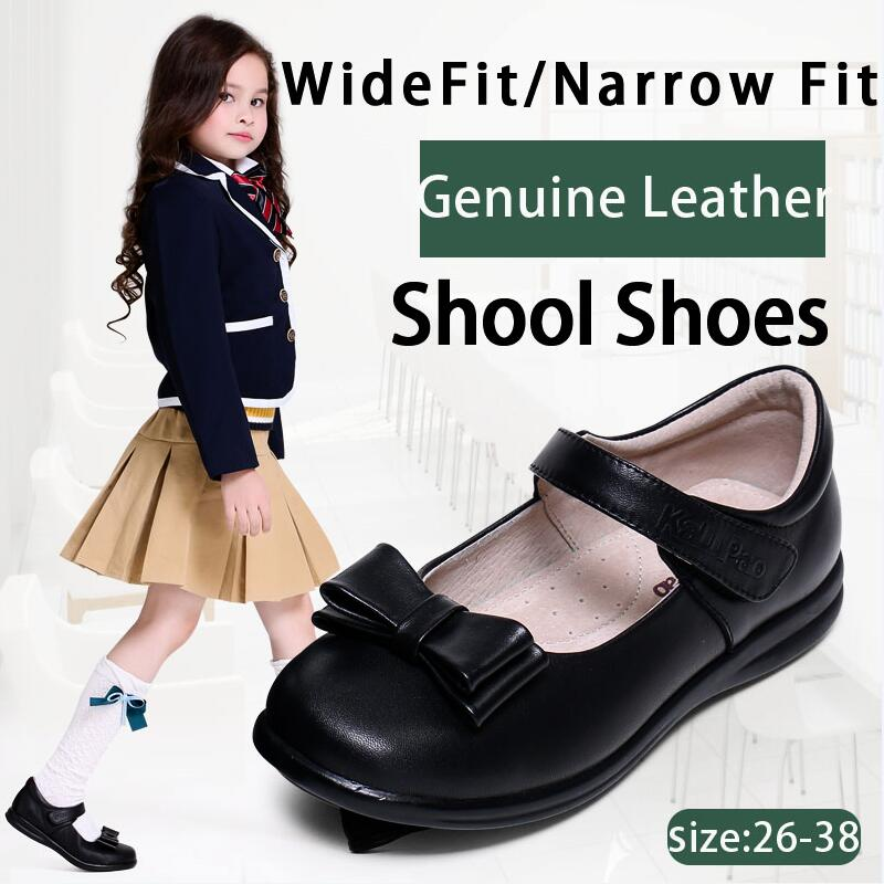 KALUPAO Children School Uniform Shoes Girls Dress Shoes bowtie Black Leather shoes Pretty Comfortable For Kid Girls Shoes<br>