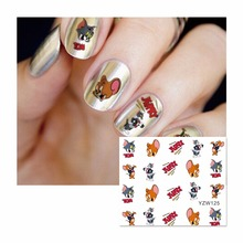 WUF 1 Sheet Water Decal Nail Water Transfer Cartoon Nail Sticker Stamping For Nail Art Stamp 125
