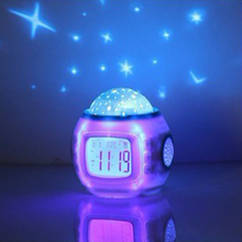 Cute Shape Music Starry Star Sky Projection Alarm Clock Calendar Thermometer Display Time Week Date Month Year and Temperature(China)