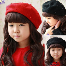 Lovely pearl beret wool painter cap knitted cap baby girls Winter warm beret hat for 2-6 yrs kids(China)