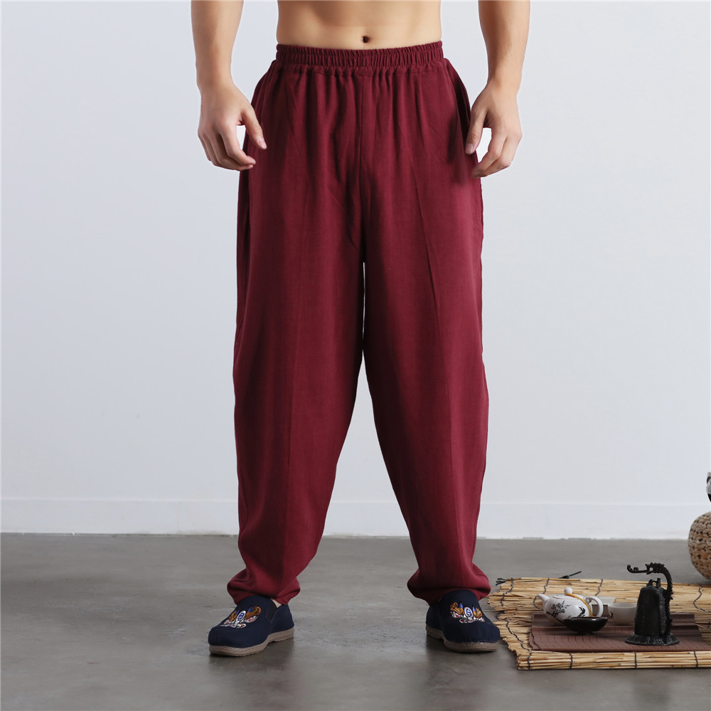 Men's Loose Cotton Linen Pants Comfortable Casual Wide Leg Linen Trousers Men Soft Natural Flax Pants Elastic Waist 4Colors
