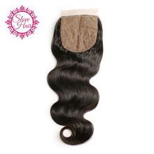 Slove Hair Brazilian Body Wave Silk Base Closure Middle Part Remy Human Hair Closure Bleached Knots With Baby Hair Free Shipping