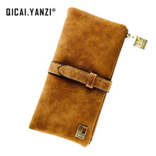 2017 7Colors Fashion Lady Bags Women Wallets PU Drawstring Nubuck Leather Zipper Purse Card Holder Long Wallet 2 fold ClutchJ417(China)
