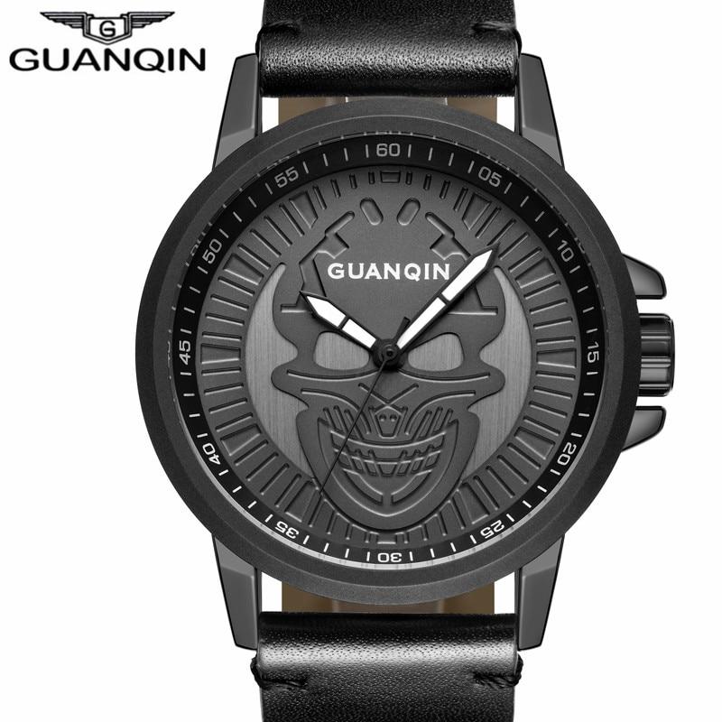 Original GUANQIN Brand Classic Men Sport Quartz Watch Mens Fashion Casual Leather Strap Waterproof Wristwatch relogio masculino<br>