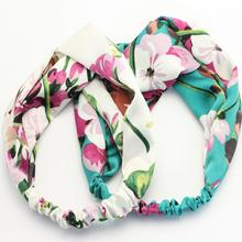 Fashion Women Elastic Turban Twisted Knotted Headband Ethnic Floral Wide Stretch Cross Knot Hair Band Accessories