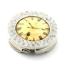 Retro Clock Purse Hanger Foldable Bag Rhinestone Handbag Table Hook Holder Yellow