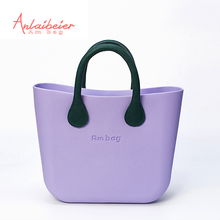 ANLAIBEIER EVA bag Ambag body with Green leather Handle Black Polyester waterproof  Insert Lining inner rubber bag women handbag