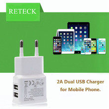 Free Shipping 20pcs/lot Portable US EU Micro Mobile Wall Charger 2A Double Usb Charger for Phone Charger
