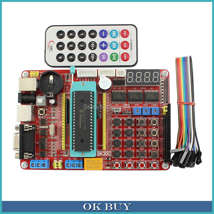 PIC Development Board Kit  Microchip PIC16F877A Integrated Circuit Learning Board with Remote Control<br>