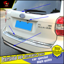 Car Styling stainless stell Rear Door Tail window Trim Cover Sticker For SUBARU Forester 2013-2015 Rear bumper trim Accessories