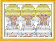30*25cm Needlework,DMC Set  Full Embroidery kit,popular counted cross stitch kit Almost Perfect 3 little angels Paint Wall Decor