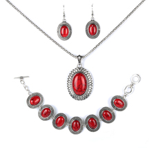 Parabola Silver Color figured Pattern Oval Red Created Turquoises Jewelry Sets Earrings Bracelets Necklace for Women ZSS0007