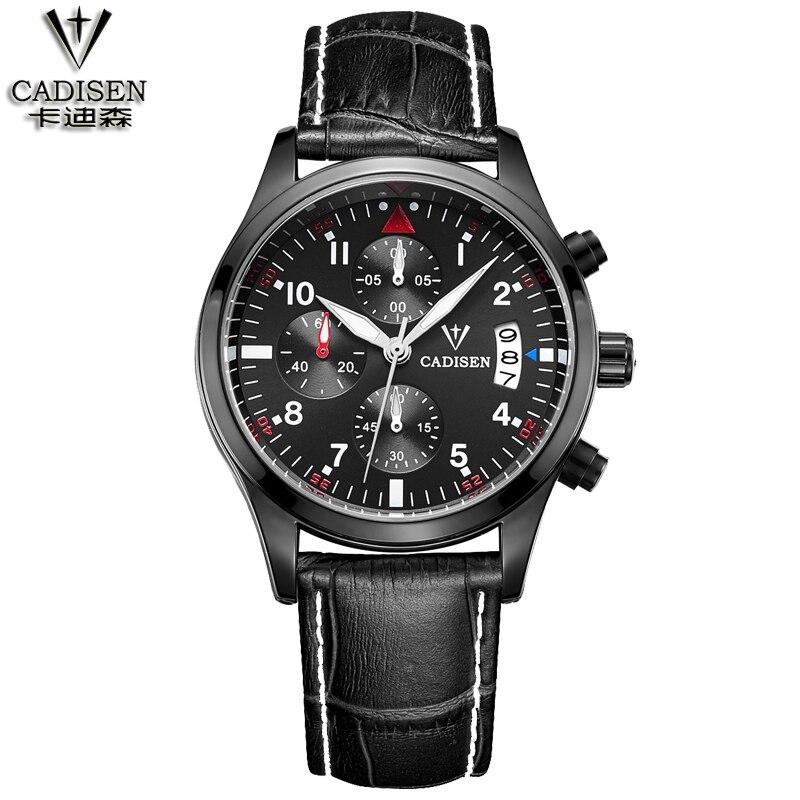 CADISEN Fashion Chronograph Sport Mens Watches Top Brand Luxury Quartz Watch Reloj Hombre 2016 Clock Male hour relogio Masculino<br>