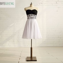 Black and White Chiffon Knee-Length A-line Formal Party Cocktail Dress Sweetheart Beading Real/Original Photos Custom made(China)