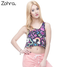 Zohra Hot Sale Style Short Tank Tops Women Crop Top Love and Peace Printing Vest Sexy Women Camis(China)