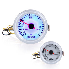 "Car 2"" 52mm -1~2BAR Turbo Boost 12V Vacuum Auto Car Press Gauge Meter With Blue LED Light(China)"
