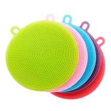 Multifunction Silicone Dish Bowl Cleaning Brush Silicone Scouring Pad silicone dish sponge Kitchen Pot Cleaner Washing Tool(China)