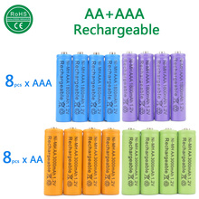 Set 8pcs AA+8pcs AAA Rechargeable Battery 3000mAh 1.2V Quanlity AA NI-MH Batteries mix colors for toys power