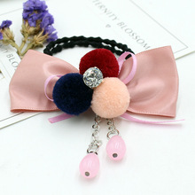 2017 New Fur Pompom Bowknot Hair Bands Fashion Women Girls Head Band Ponytail Holder Wholesale(China)