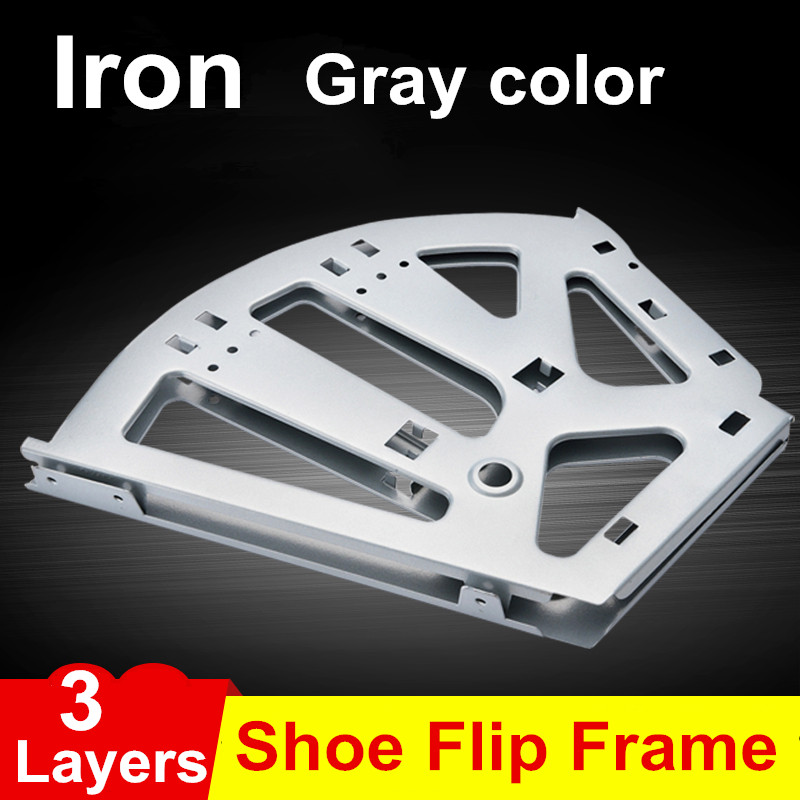 1Pair Iron Shoe Rack Flip Frame 3 Layers option Gray Color Hidden Hinge<br>