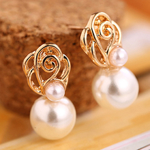 Hot Women's White Pearl Gold-toned Ear Studs Earrings Bride Jewelry Gift Eardrop Free Shipping 6KR9 7F3O BE9A