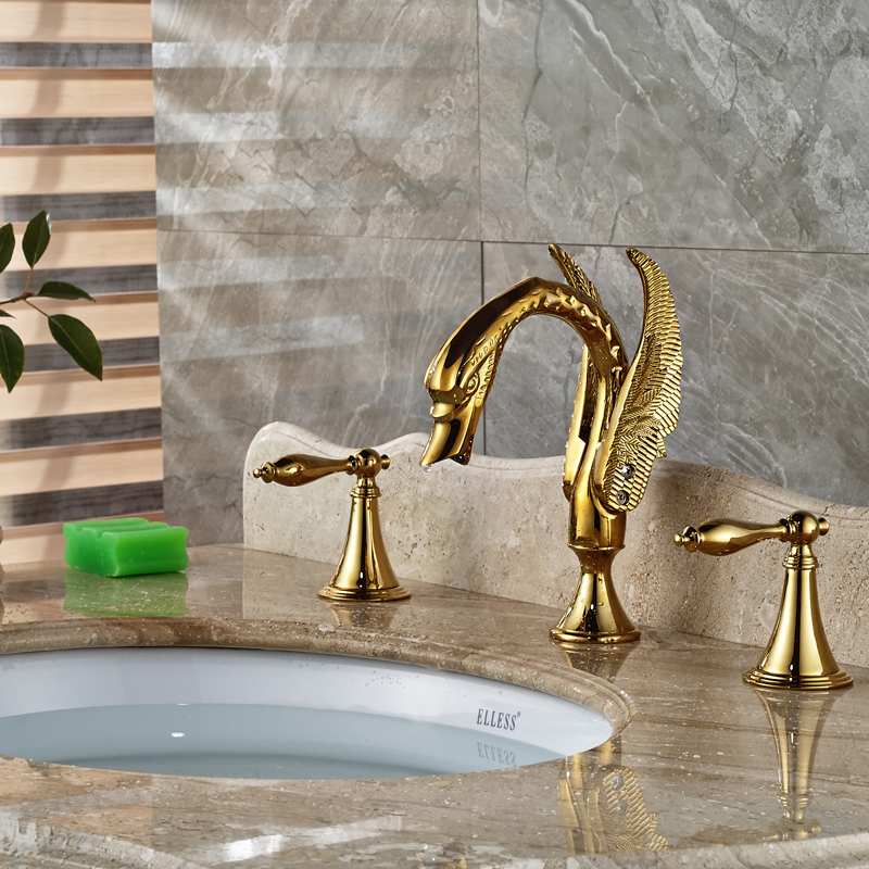 Swan Shaped Widespread Brass Basin Mixer Faucet Deck Mount 3 Holes Hot and Cold Water Taps<br><br>Aliexpress