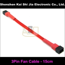 15cm Red Sleeved 3 Pin PC Fan Female to Male Power Extension Cable(China)