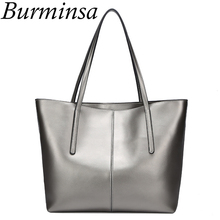 Burminsa Brand Genuine Leather Handbags Ladies Large Capacity Shopping Bags Designer Tote Shoulder Bags Women Messenger Bags(China)