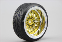 4pcs RC Hard Pattern Drift Tires Tyre Wheel Rim Y12CG 3/6/9mm offset (Chrome+Painting Gold) fits for 1:10 Drift Car(China)