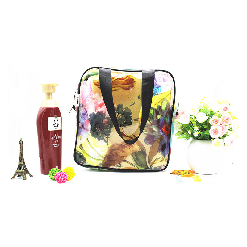 RDGGUH Flower Transparent PVC Waterproof Antifreeze Zipper Cosmetic Bag Flower Portable Makeup Tool Lady Cosmetic Bag Organizer