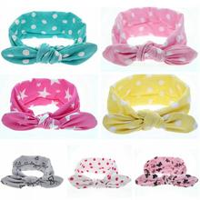1PC 1 Colors Fashion Baby Girls Boys Knot Headband Children Rabbit Ear Turban Elastic Dots Printing Cotton Hair Bands 2016 Hot