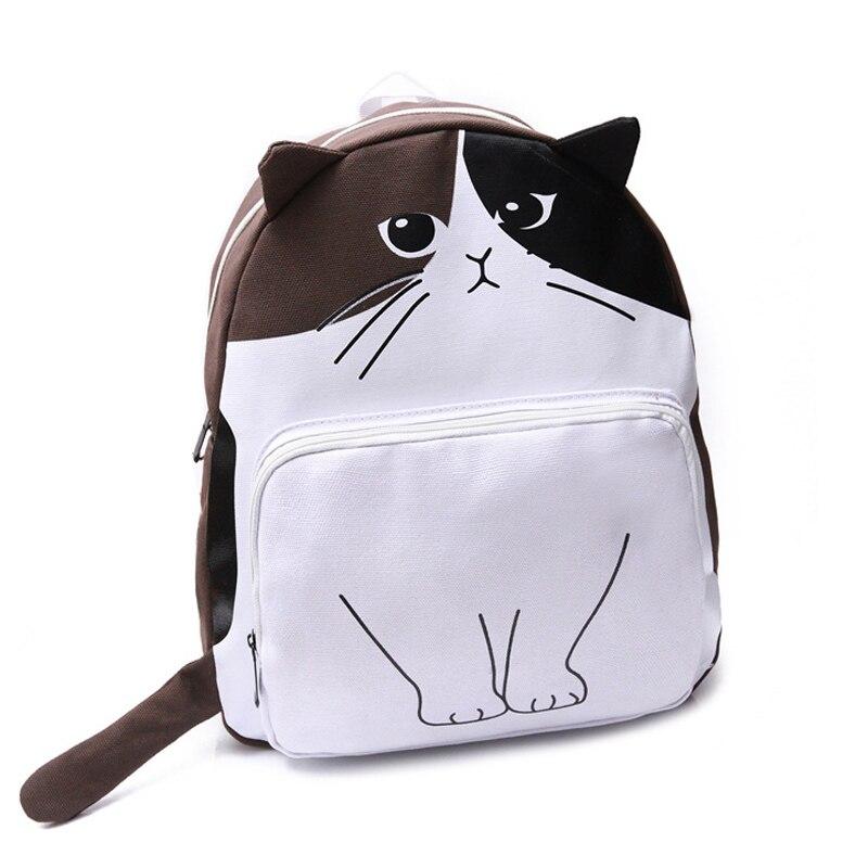 2017 Cute Cat Canvas Backpack Women Fashion Funny Cartoon Printing School Bag For Teenage Girls Students Rucksack mochila XA79H<br><br>Aliexpress