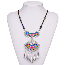Bohemia Vintage Long Chain Maxi Necklace Embroidery Style Boho Butterfly Shape Flower For Wommen Jewellery Bells Fringe Tassel