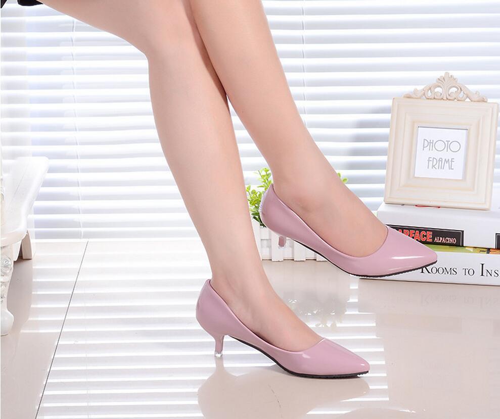 2018 Femmes Chaussures Bout Pointu Pompes En Cuir Verni Chaussures Habillées Talons hauts 40