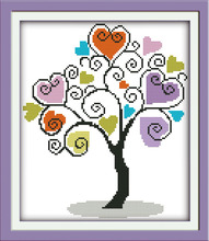 The giving tree (2) cross stitch kit love heart 14ct 18ct count canvas stitching embroidery DIY handmade needlework plus(China)
